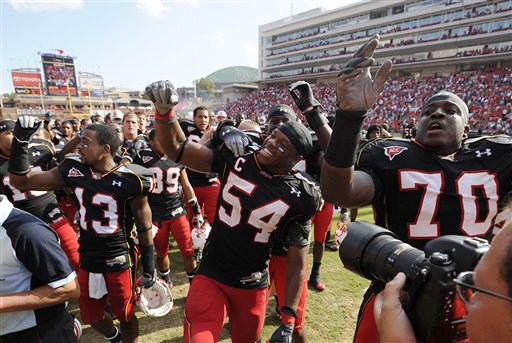 Maryland players celebrate after a hard earned win over Clemson.